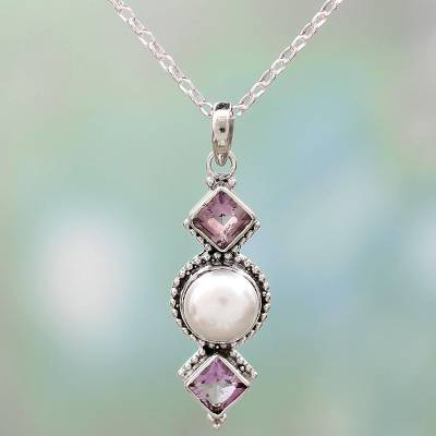 Amethyst and cultured pearl pendant necklace, 'Purple Guardians' - Amethyst and Cultured Pearl Pendant Necklace from India