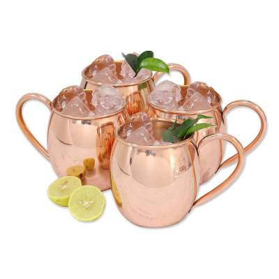 Copper mugs, 'Quality Time' (set of 4) - Four Simple Artisan Crafted Copper Mugs from India