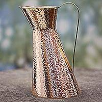 Copper pitcher, 'Cheerful Feast' - Hand Made Copper Pitcher with Brass Handle from India