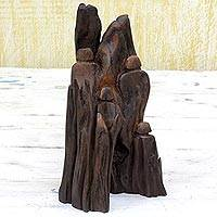 Wood sculpture, 'Family Unity I' - Unique Khair Driftwood Sculpture from India