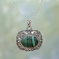 Malachite pendant necklace, 'Beguiling Green' - Sterling Silver Green Malachite Pendant and Chain