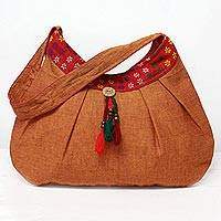 Cotton shoulder bag, 'Eastern Allure' - Indian Orange Floral Hand-woven 100% Cotton Shoulder Bag