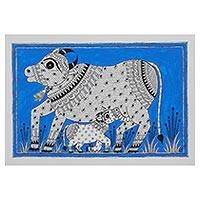 Madhubani painting, 'Bond of Love' - Signed Indian Madhubani Folk Art Painting of Cows