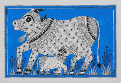 Signed Indian Madhubani Folk Art Painting of Cows