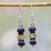 Citrine and lapis lazuli dangle earrings, 'Golden Mystique' - Indian Silver Lapis Lazuli and Citrine Dangle Earrings