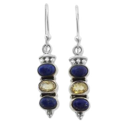Indian Silver Lapis Lazuli and Citrine Dangle Earrings