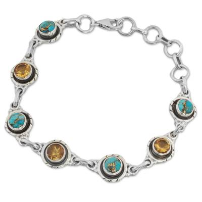 Sterling Silver and Citrine Link Bracelet from India
