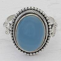 Chalcedony cocktail ring, 'Sky Reverie' - Blue Chalcedony and Sterling Silver Cocktail Ring from India