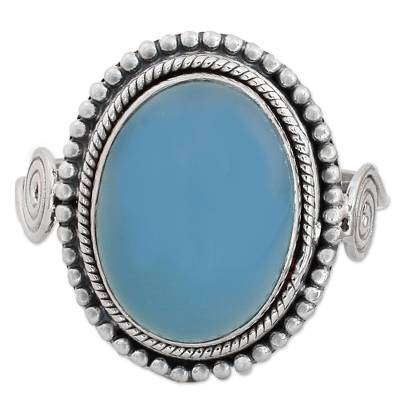 Blue Chalcedony and Sterling Silver Cocktail Ring from India