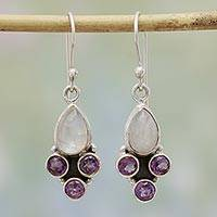 Rainbow moonstone and amethyst dangle earrings, 'Enthralling Sky in Purple' - Rainbow Moonstone and Amethyst Dangle Earrings from India