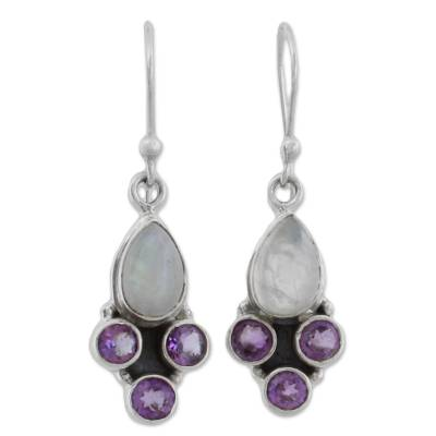 Rainbow Moonstone and Amethyst Dangle Earrings from India