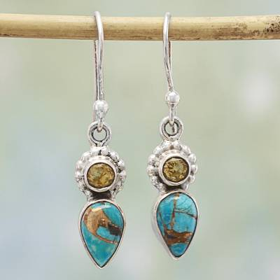 Citrine dangle earrings, Watery Allure