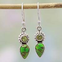 Peridot dangle earrings, 'Arbor Allure' - Peridot and Composite Turquoise Dangle Earrings from India