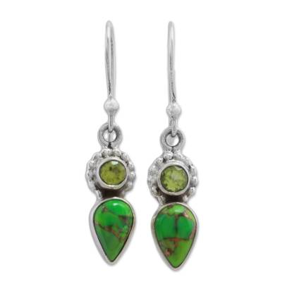Peridot and Composite Turquoise Dangle Earrings from India