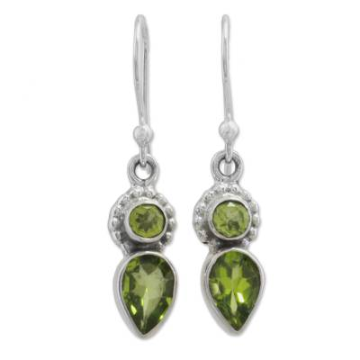 Peridot and Sterling Silver Dangle Earrings from India