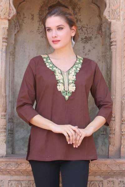 Cotton tunic, 'Chestnut Opulence' - Chestnut Brown Cotton Tunic with Classic Indian Embroidery