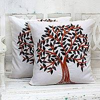 Cotton cushion covers, 'Summer Quiet' (pair) - Embroidered Cotton Cushion Covers Pumpkin Tree (Pair) India