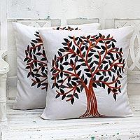 Cotton cushion covers, 'Summer Quiet' (pair) - Embroidered Cotton Cushion Covers Pumpkin Tree (Pair) India