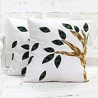 Cotton cushion covers, 'Autumn Gust' (pair) - Embroidered Cotton Cushion Covers Trees (Pair) from India