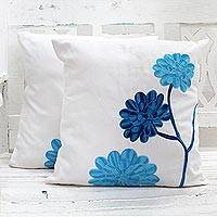 Cotton cushion covers, 'Dahlia Flowers' (pair) - Embroidered Floral Cotton Cushion Covers (Pair) India