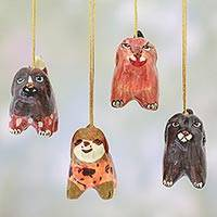 Papier mache ornaments, 'Joyful Puppies' (set of 4) - Set of 4 Handcrafted Papier Mache Dog Ornaments from India