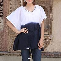 Cotton caftan, 'Twilight Paradise' - 100% Cotton Embroidered White and Navy Caftan from India