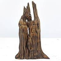 Reclaimed wood sculpture, 'Family Tree' - Unique Reclaimed Driftwood Sculpture from India