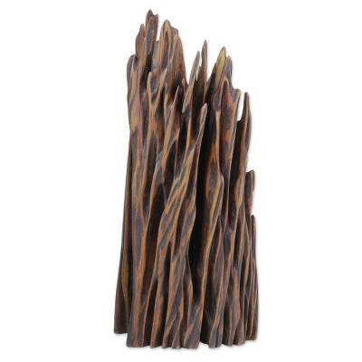Reclaimed wood sculpture, 'Force of Nature III' - Upcycled Natural Wood Abstract Sculpture from India
