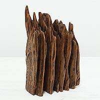 Reclaimed wood sculpture, 'Nostalgia III' - Natural Wood Abstract Sculpture from India Signed by Artist