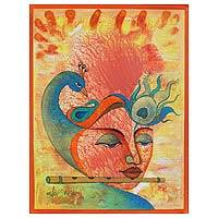 'Incarnation of Vishnu' - Expressionist Painting of Vishnu with Peacock from India