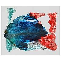 'Fantasy' - Multicolored Expressionist Painting of a Blue Face India