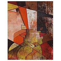 'Pure Love' - Expressionist Angular Painting of Faces from India