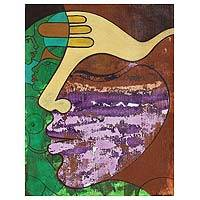 'Moods II' - Expressionist Painting of Faces from India