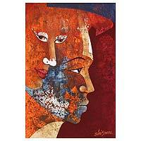 'Pure Love II' - Romantic Expressionist Portrait Painting from India