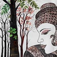 'Buddha with Nature' - Multicolored Expressionist Painting of Buddha from India