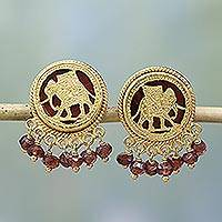 Gold plated garnet button earrings, 'Royal March' - Garnet and Glass 23k Gold Plated Elephant Button Earrings