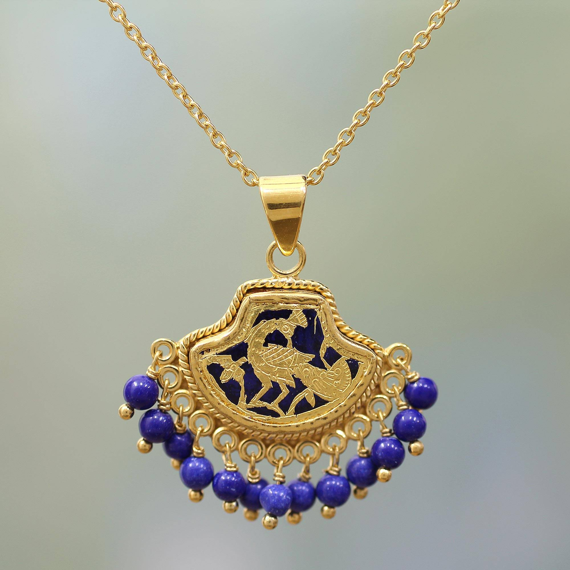 fdf1f8a13dec9 Lapis Lazuli Peacock Pendant Necklace in 23k Gold, 'Radiant Peacock'