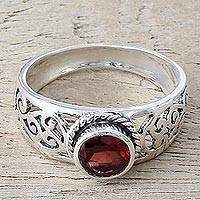 Garnet single stone ring, 'Blossoming Desire' - Garnet and Sterling Silver Single Stone Ring from India