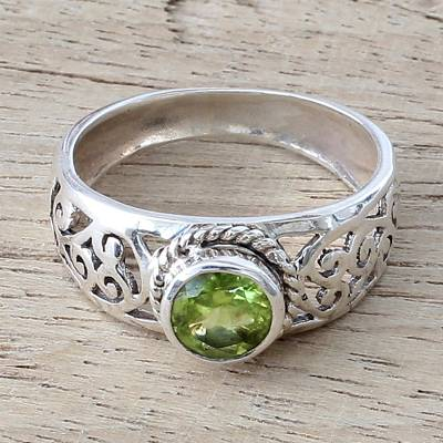 gold t initial necklace - Peridot and Sterling Silver Indian Ring with Paisley Design