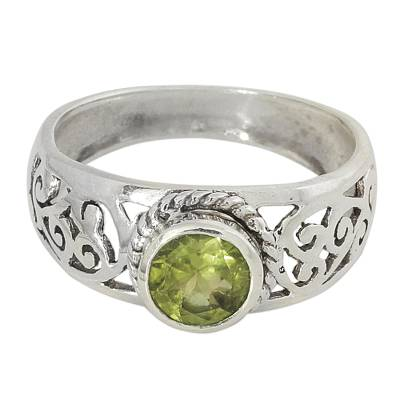 Peridot and Sterling Silver Indian Ring with Paisley Design