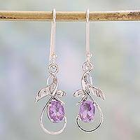 Amethyst dangle earrings, 'Lilac Fantasy' - Sterling Silver and Amethyst Dangle Hook Earrings from India