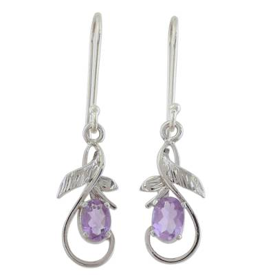 Sterling Silver and Amethyst Dangle Hook Earrings from India
