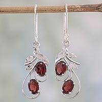 Garnet dangle earrings, 'Crimson Passion' - Handcrafted Garnet and Sterling Silver Dangle Earrings