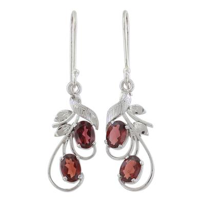 Garnet dangle earrings, 'Crimson Passion' - Handcrafted Garnet and Sterling Silver Dangle Earrings