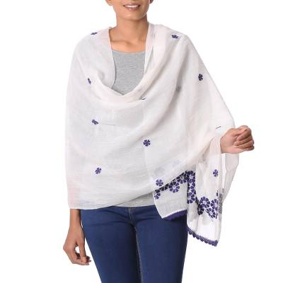 Cotton and silk blend shawl, 'Chikan Flowers in Indigo' - Cotton and Silk Shawl in Champagne and Indigo from India