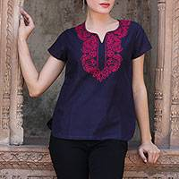 Cotton tunic, 'Midnight Blue Splendor' - Fuchsia Lotus Embroidery on Blue Cotton Tunic from India