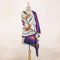 Silk shawl, 'Amber Lilies' - Hand Woven Multicolored Floral Silk Shawl from India