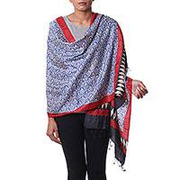 Silk shawl, 'Sapphire Crests' - Hand Woven Indian Silk Shawl in Sapphire Crimson and Black