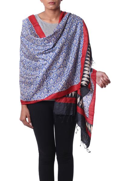 5d2d02ad6 Silk shawl, 'Sapphire Crests' - Hand Woven Indian Silk Shawl in Sapphire  Crimson