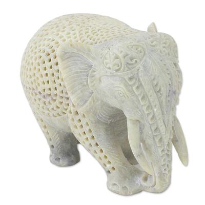 Soapstone figurine, 'Elephant Grandeur' - Hand Carved Soapstone Elephant Figurine from India